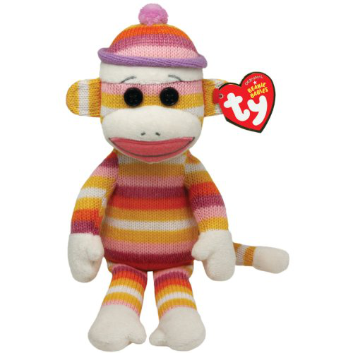 Ty Beanie Babies Sock Monkey Pastel Stripes 8 Plush